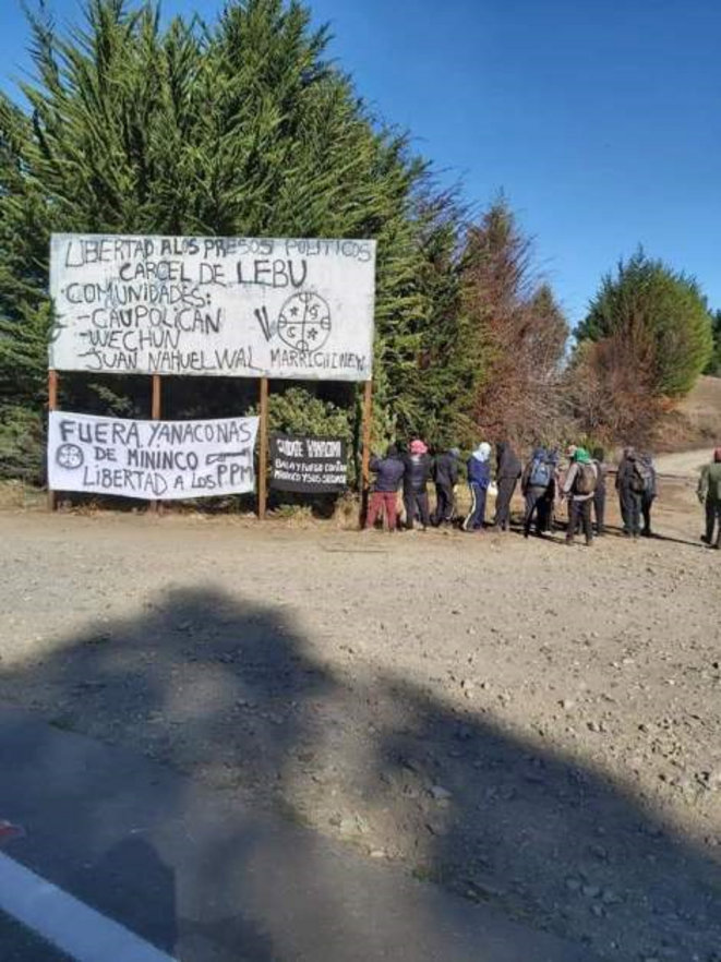 Liberté aux prisonniers politiques - Prison de Lebu. Communautés de Caupolican, Wechun, Juan Nahuel Wal © Diario Venceremos