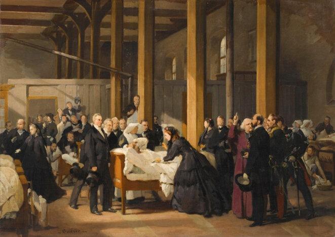 L'impératrice Eugénie visitant les cholériques de l'hôtel-dieu à Amiens, le 4 juillet 1866. © Paul-Félix GUERIE