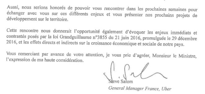 Lettre d'Uber au ministre de l'économie et des finances