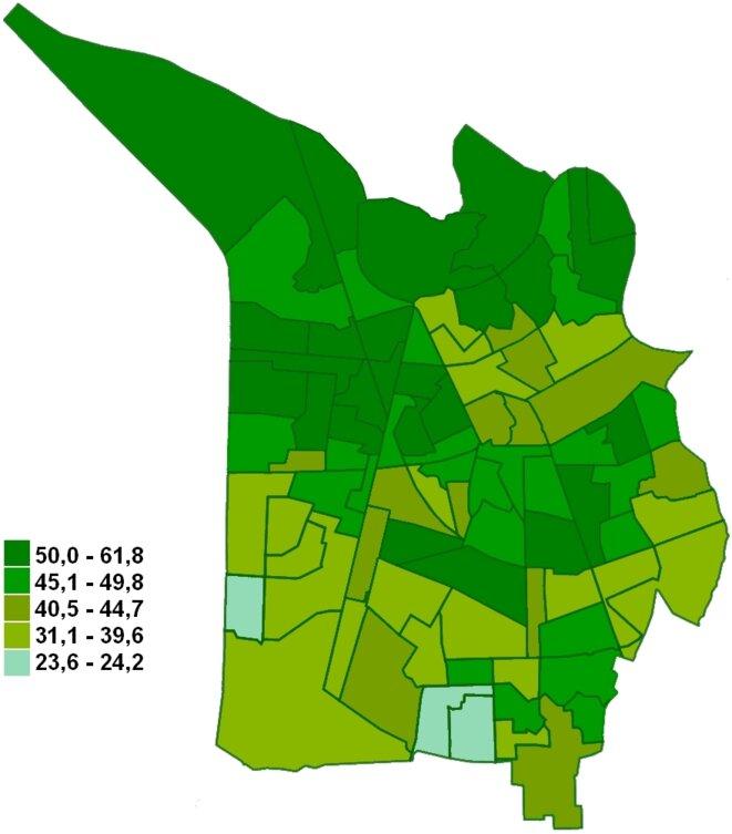Carte du vote Piolle au 1er tour des élections municipales à Grenoble, par bureau de vote