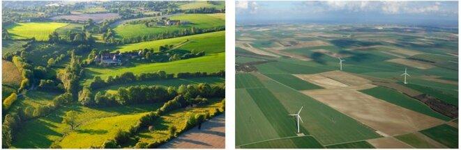 De la polyculture et des bocages (à gauche, le Perche) à la monoculture et aux « open fields » (à droite, la Beauce)