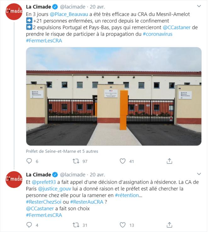 Capture d'écran d'une publication du compte twitter de la Cimade.