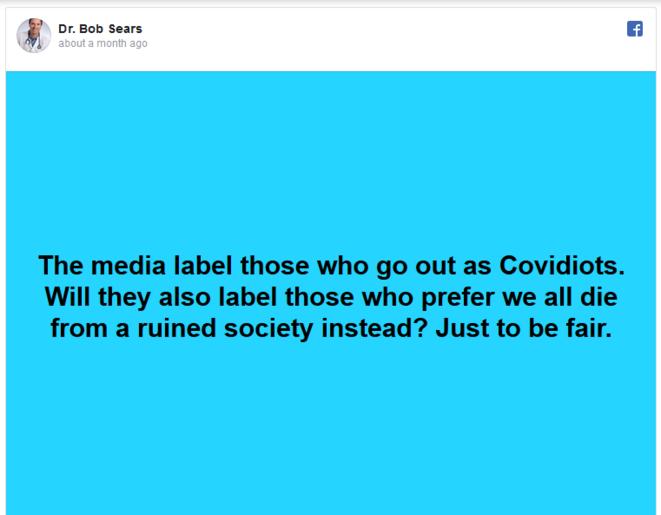 """""""Les médias nomment """"covidiots"""" ceux qui sortent dans la rue. Vont-ils aussi insulter ceux qui prefèrent que nous mourrions tous de la ruine de la société ? Juste pour petre équitables."""""""