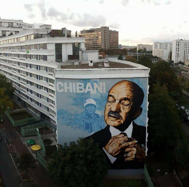 """""""Chibani"""", fresque à Malakoff représentant Mohand Dendoune, réalisée par Vince"""