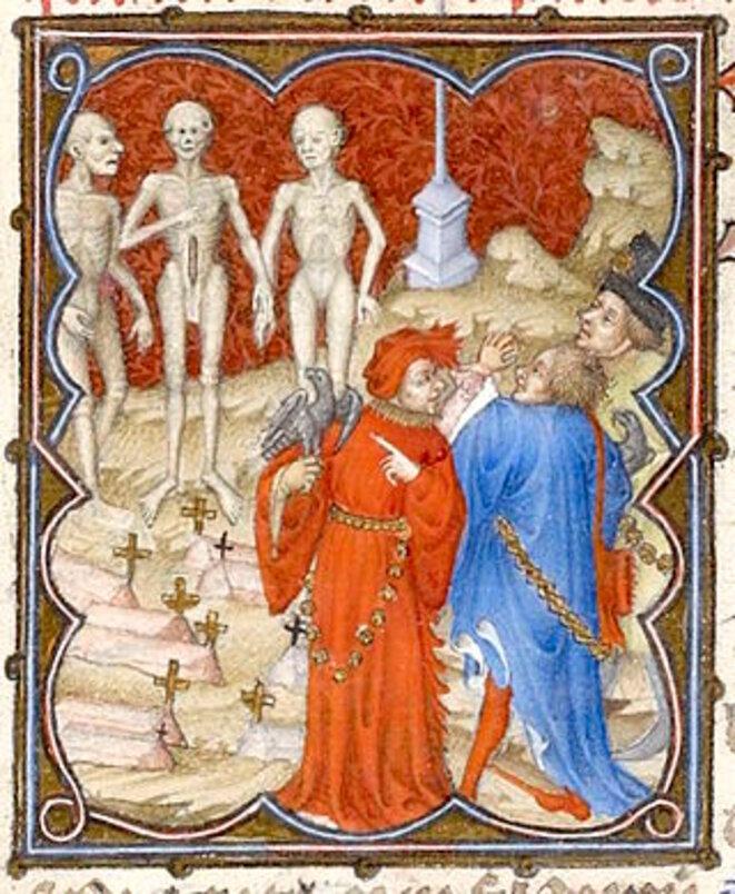 Les Trois Vifs & les Trois Morts, Les Petites Heures du Duc de Berry,1375-1415, BNF, Paris