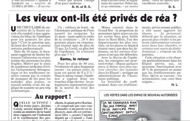 """""""Le Canard enchaîné"""", 22 avril 2020 © H. L."""