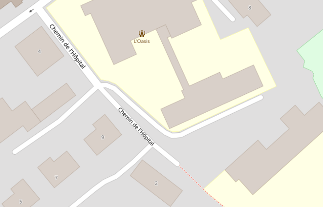 À Moudon, le chemin de l'hôpital ne mène plus à un hôpital, depuis 2001. © OpenStreetMap