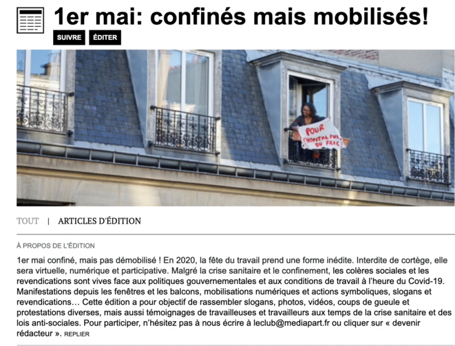 """Edition participative """"1er mai : confinés mais mobilisés!"""""""