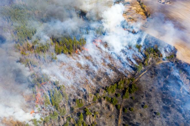 Photo aérienne prise le 12 avril 2020 de l'incendie d'une forêt à 30 km de la zone d'exclusion de Tchernobyl. © Volodymyr Shuvayev / AFP
