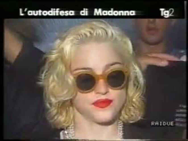Madonna on Italian news, July 11, 1990. © TG2