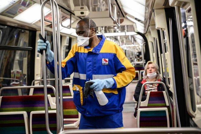 Dans le métro parisien le 4 mai 2020. © Bertrand Guay/AFP