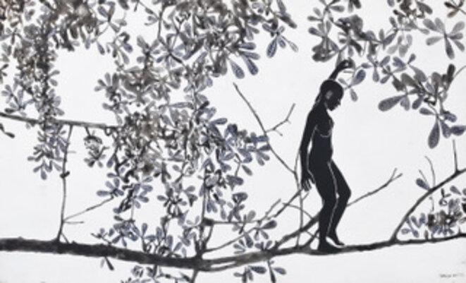 Sur le fil, encre de chine sur papier, 61 cm x 101,6 cm, 2017, courtoisie de l'artiste © Mafalda Mondestin