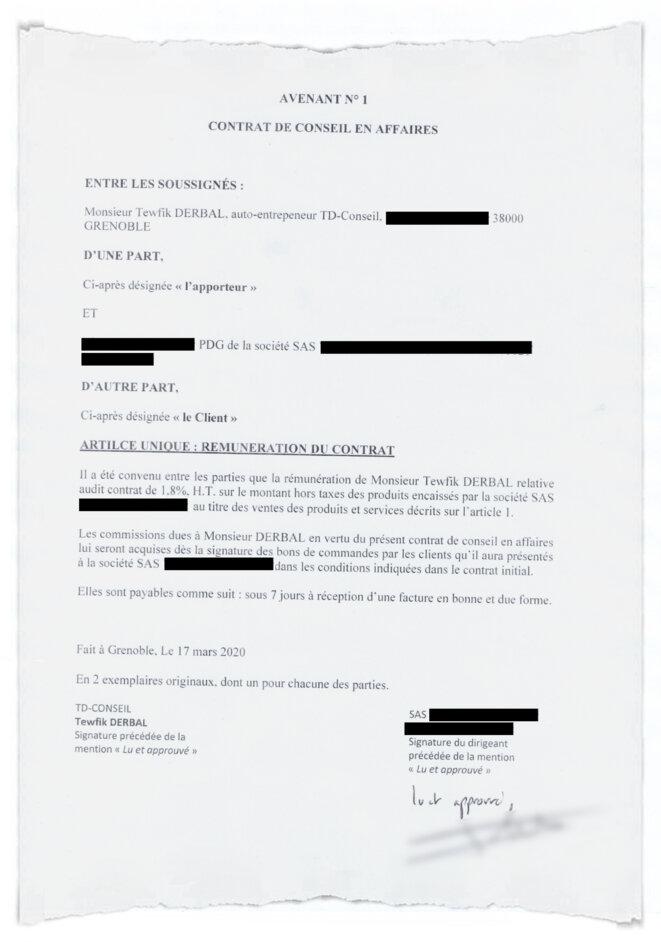 La dernière page du contrat transmis par Tewfik Derbal à la société d'import-export. © Document Mediapart