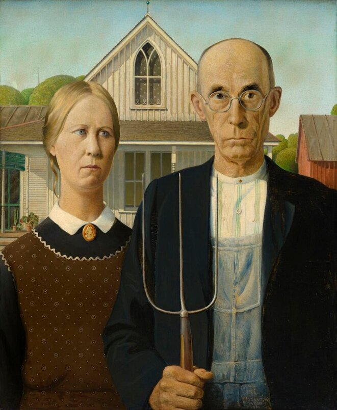 "After ""American gothic""... French gothic... © Grant Wood"