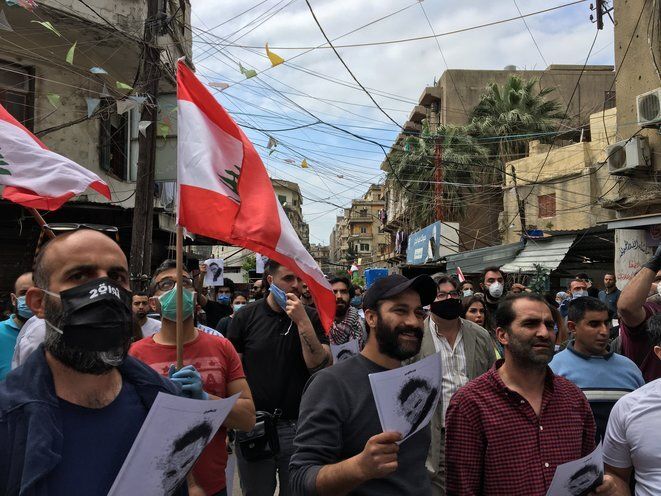 A march in the Lebanese city of Tripoli on April 3rd in homage to a demonstrator killed by security forces. © NMA