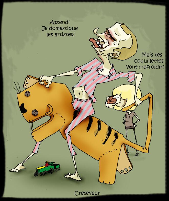 Compilation covid-joke  2020 - Page 3 Macron-enfourche-le-tigre