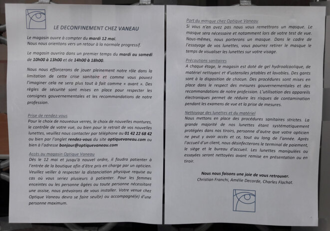 Régles d'hygiène et du magasin, pour rassurer les clients, et pour se rassurer. © Marc Jamous - 10 mai 2020
