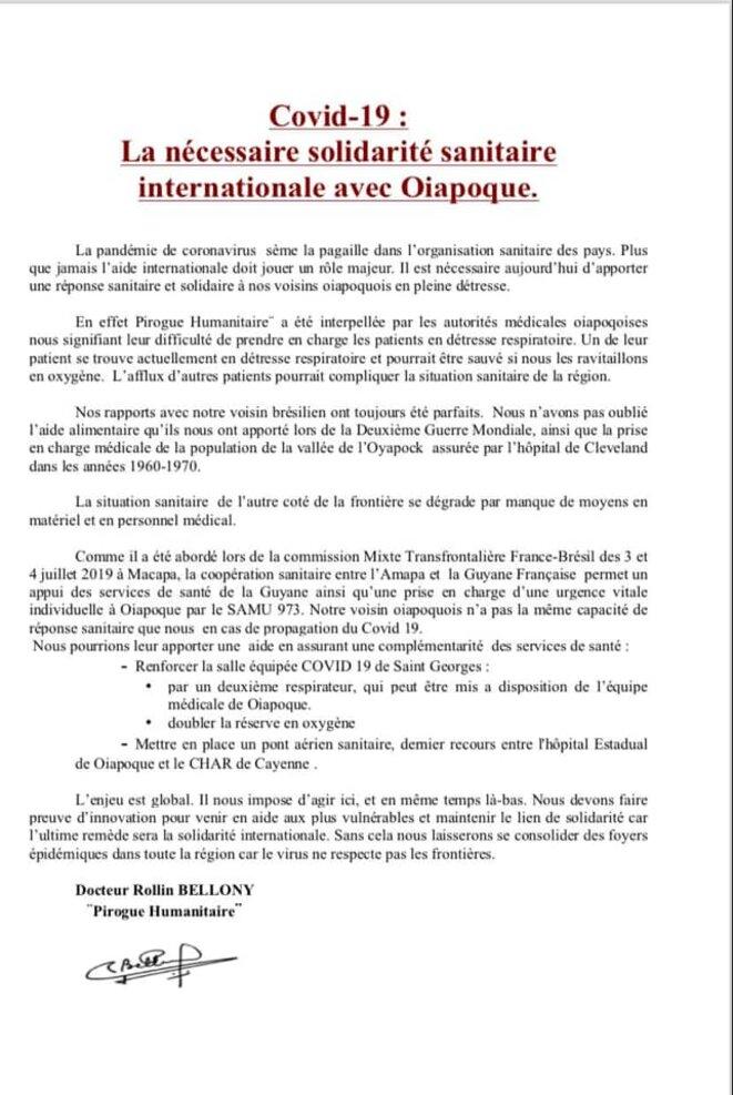 «Covid-19, La nécessaire solidarité internationale avec Oïapoque». Sur la page Facebook du Dr Rolin Bellony, le 16.05.2020.