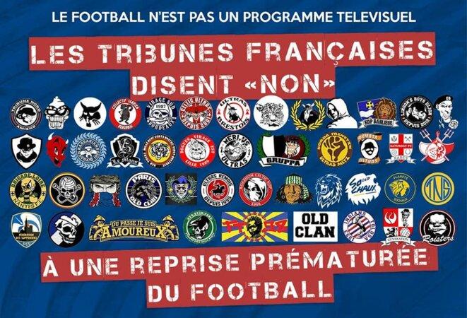Les groupes français signataires d'un communiqué commun via l'ANS (Association Nationale de Supporters) s'opposant à une reprise du football dans le pays