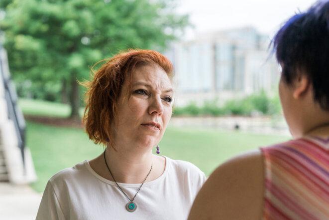 Conflit : Johanna Verburg, qui est autiste, a eu une mauvaise rencontre avec la police et dit qu'elle s'inquiète pour sa fille, qui est également sur le spectre. © Cary Norton