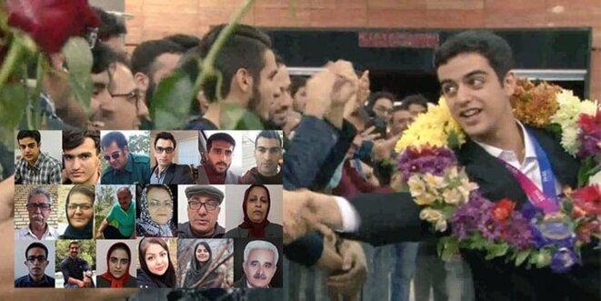 Ali Younesi médaillé, et en médaillon d'autres prisonniers d'opinion en Iran