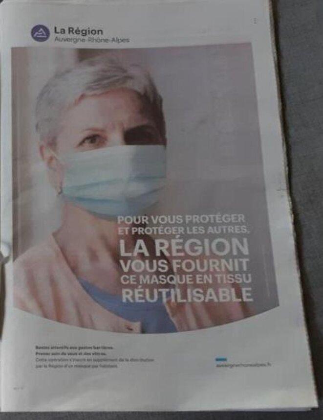 photo de la page dévolue à la com de de la Région AURA La Tribune Le Progés du 10 mai 2020 © MLD