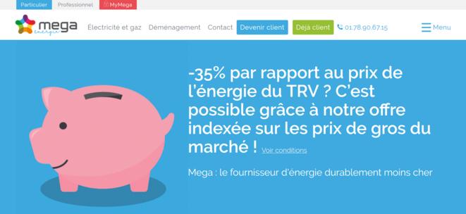 """Page d'accueil du site """"Méga Energie"""""""