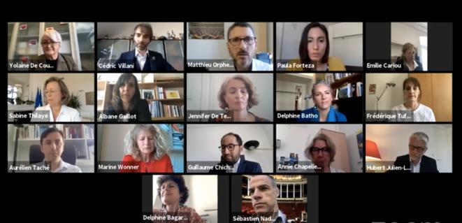 Le nouveau groupe parlementaire Écologie démocratie solidarité lors de sa présentation en visioconférence le 19 mai. © Capture d'écran