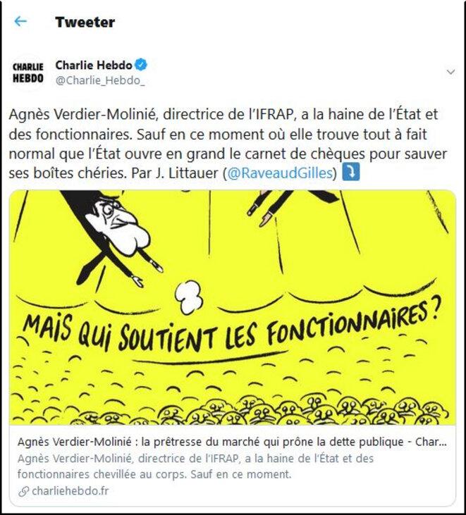 Copie d'écran Twitter (compte de Charlie Hebdo)