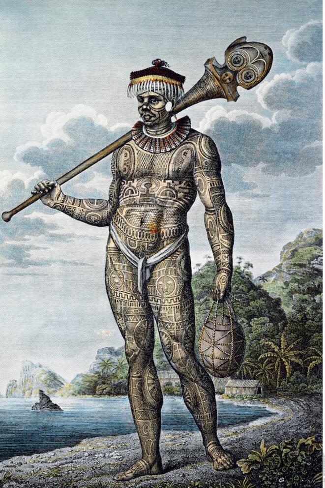Homme de Nuku Hiva Krusenstern, 1813, Atlas, pl. 8. © musée du quai Branly. Paris. France.