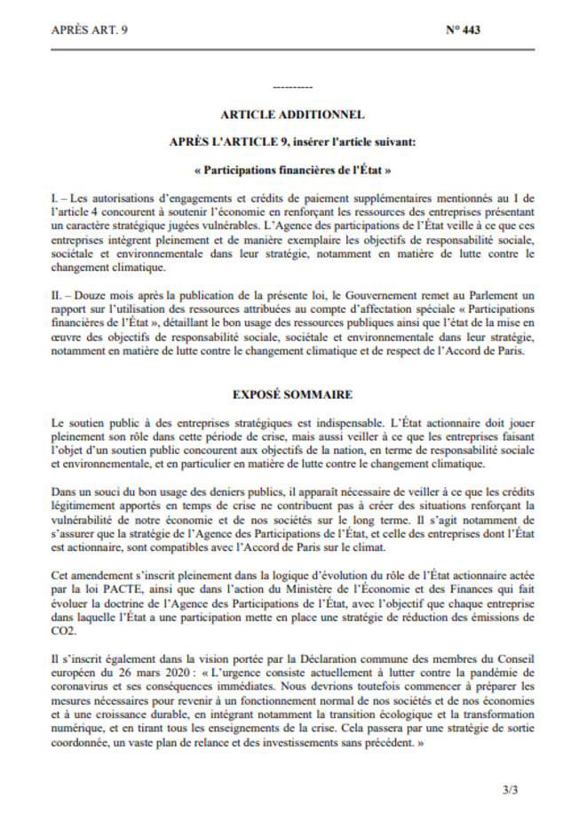 Amendement N°443 de l'Assemblée National (du 16 avril 2020)
