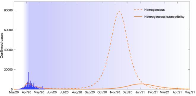 En admettant que la distanciation physique diminue progressivement pour retrouver un niveau normal d'ici l'automne, les modèles homogènes appliqués à la France donnent une deuxième vague très importante à l'automne, alors que le modèle hétérogène de l'étude de Gabriela Gomes (ligne continue orange) prévoit une deuxième vague beaucoup plus plate. © Gabriela Gomes