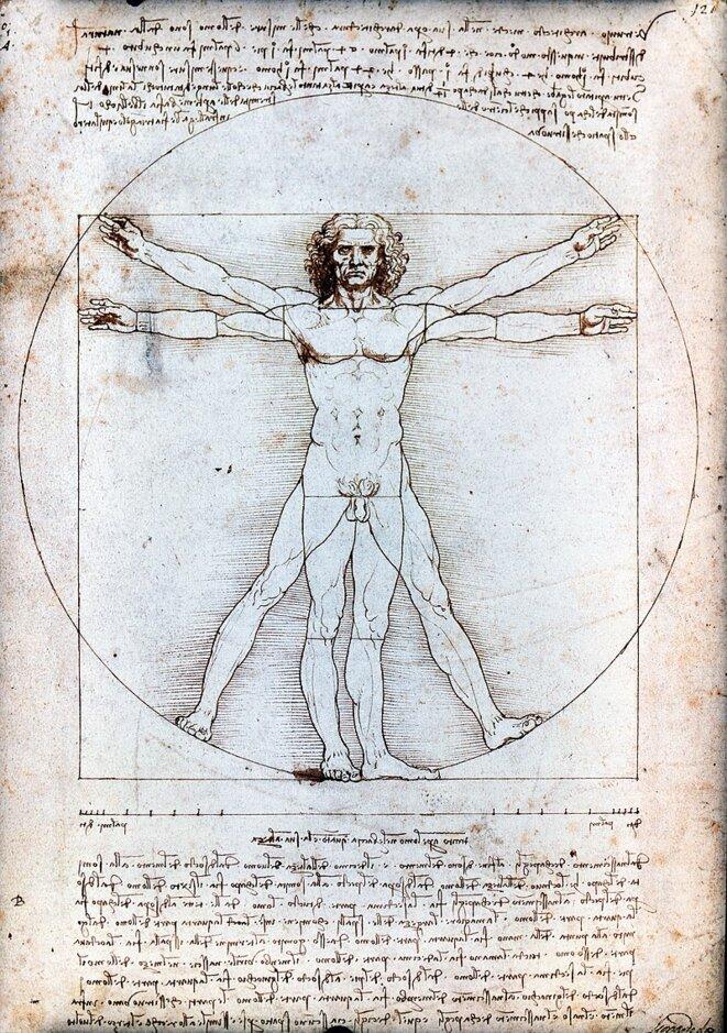 L'Homme de Vitruve, dessin de Léonard de Vinci, 1490