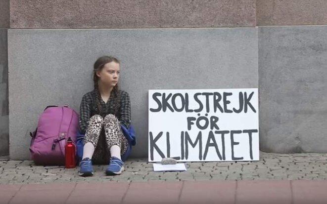 """""""Grève de l'école pour le climat"""" devant le parlement suédois en août 2018"""