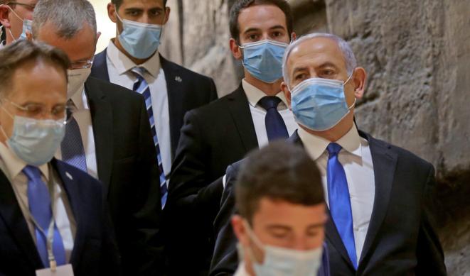 Le premier ministre israélien Benjamin Netanyahou lors de la cérémonie d'investiture à la Knesset, le 17 mai 2020 à Jérusalem. © AFP