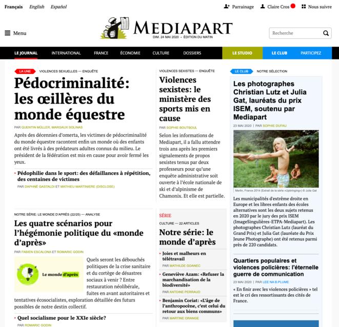 Capture d'écran, une du site de Mediapart du 23 au 24 mai 2020.