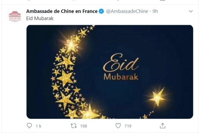 Les souhaits de l'ambassade de Chine en France © tweet de l'ambassade de Chine en France