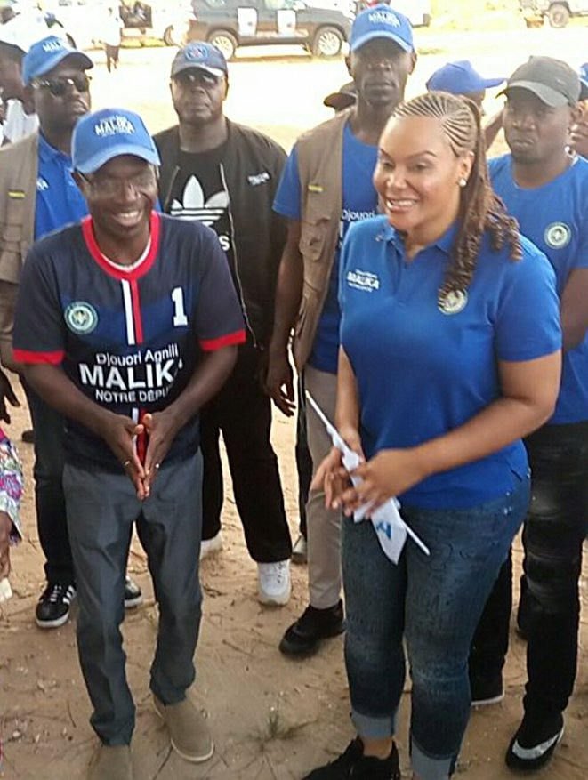 Malika Bongo (à droite) en compagnie d'Alexis Ndouna
