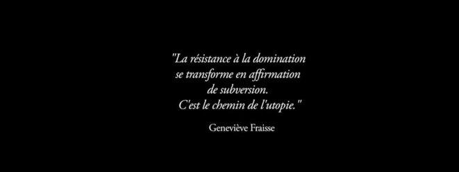 © Deborah de Robertis. Citation de Geneviève Fraisse