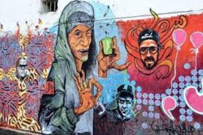 Fresque artistique à la rue Benboulaïd, Alger-centre.