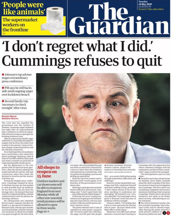 « No me arrepiento de lo que he hecho ». Cummings se niega a dimitir.