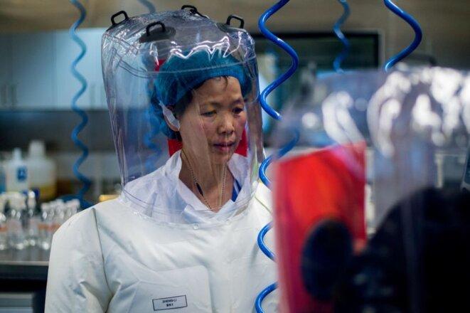 A l'intérieur du laboratoire P4, la chercheuse Shi Zhengli spécialiste des Coronavirus, le jour de l'inauguration du laboratoire. © AFP/Johannes Eisele