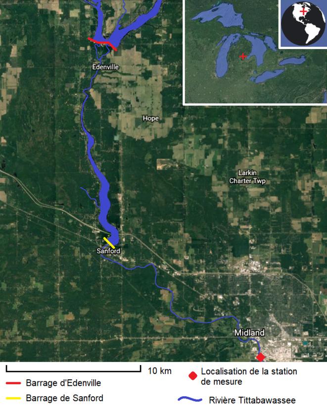 Carte de la rivière Tittabawassee et des barrages d'Edenville et de Sanford © Valentin Bouvignies