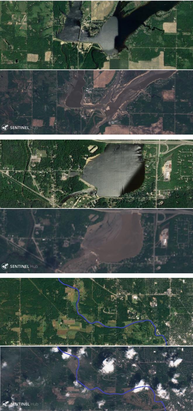 Trois photos aériennes avant et après la crue, prises par le programme d'observation européen Copernicus