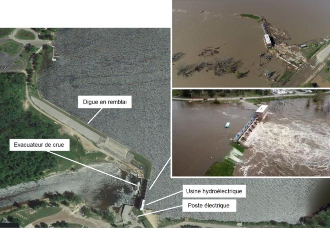 Vue aérienne du barrage de Sanford et photos de la submersion et de la rupture [9] © Google Earth