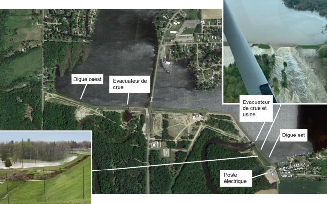 Vue aérienne du barrage d'Edenville et photos de la submersion et de la rupture [9] © Google Earth