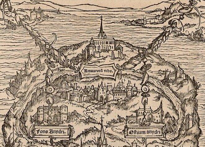 L'île d'Utopie de Thomas More (1518, détail) © CC BY-SA 4.0