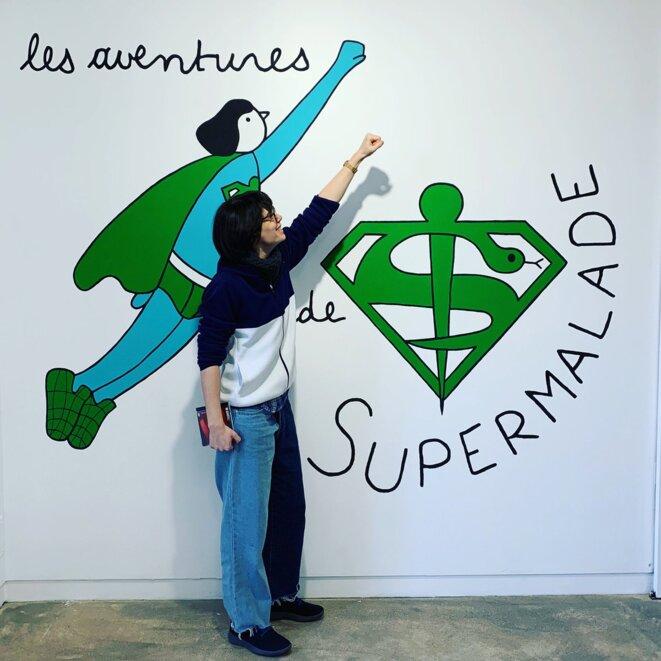 Louise Pressager, Les aventures du Super Malade, posca, 2020 © Louise Pressager, courtesy galerie Laure Roynette, Paris