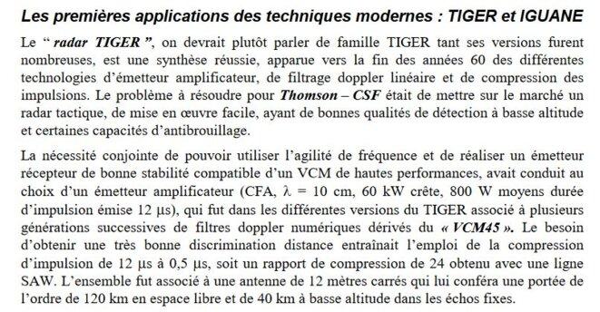 Un court texte mentionnant les portées auxquelles sont peu à peu arrivés les radars Thomson pour la France. © Jacques Darricau et Yves Blanchard