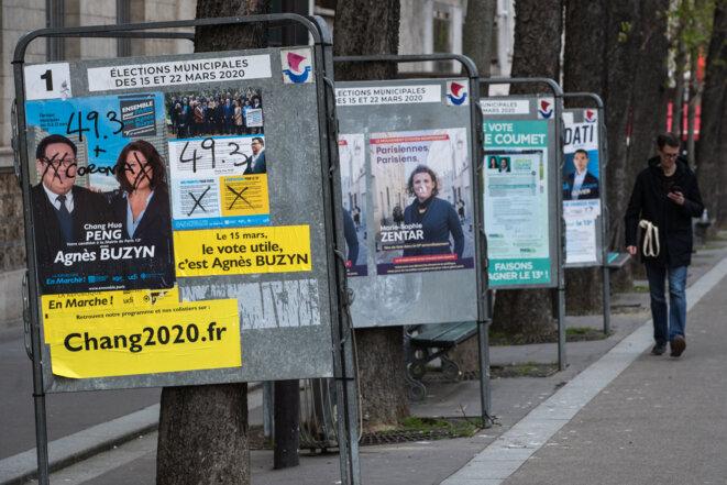 Une affiche électorale d'Agnès Buzyn à Paris. © Joël Saget / AFP